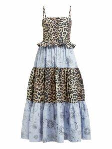 Ganni - Leopard And Moon Print Tiered Poplin Midi Dress - Womens - Blue Multi