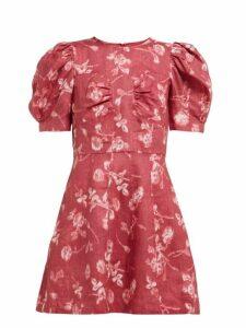 Sea - Monet Floral Print Puff Sleeve Mini Dress - Womens - Dark Pink