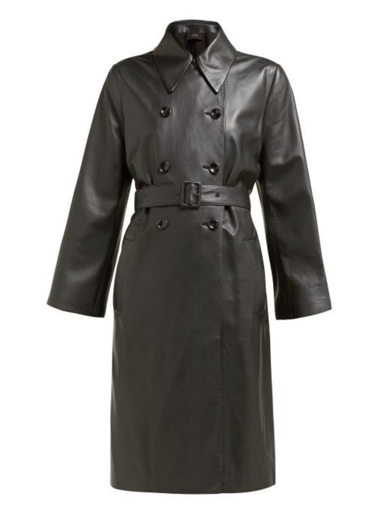 Joseph - Romney Double Breasted Leather Coat - Womens - Black