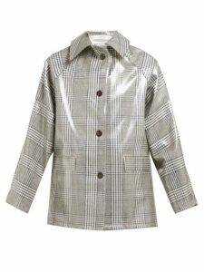 Kassl Editions - Checked Lacquered Single Breasted Coat - Womens - Grey Multi