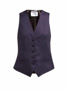 Pallas X Claire Thomson-jonville - Elliot Pinstripe Wool Waistcoat - Womens - Navy