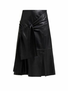 Joseph - Renne Tie Front Leather Midi Skirt - Womens - Black