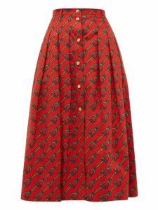 Gucci - Panama Horsebit Print Cotton Skirt - Womens - Orange Multi