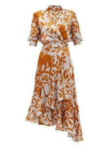 Johanna Ortiz - Journal Of A Traveller Jungle Print Wrap Dress - Womens - Grey Multi