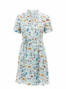 Hvn - Maria Car Print Silk Mini Dress - Womens - Light Blue