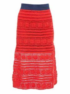 Staud - Marlin Cotton Crochet Midi Skirt - Womens - Red Multi