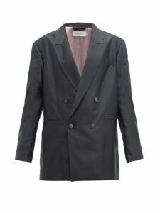 Marques'almeida - Double Breasted Oversized Silk Blazer - Womens - Black