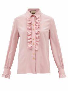 Cecilie Bahnsen - Macy Ruffled Neck Sateen Shirtdress - Womens - Black