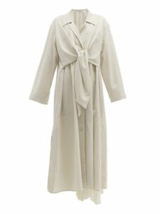 Lemaire - Tie Front Cotton Trench Coat - Womens - Light Grey