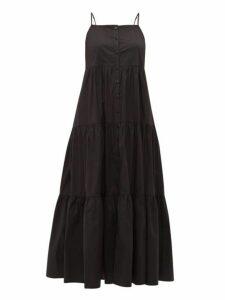Sea - Luna Tiered Cotton Blend Midi Dress - Womens - Black