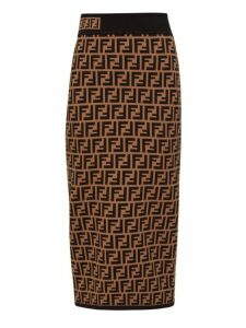Fendi - Ff Jacquard High Rise Knit Pencil Skirt - Womens - Brown Multi
