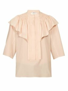 Chloé - Smocked And Ruffle Shoulder Crepe Blouse - Womens - Light Pink