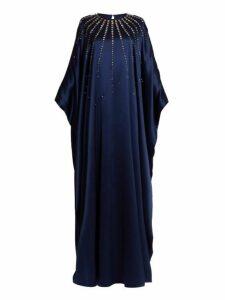 Carolina Herrera - Crystal Embellished Silk Satin Gown - Womens - Navy Multi
