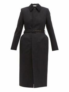 Balenciaga - Single Breasted Hourglass Cotton Twill Trench Coat - Womens - Black