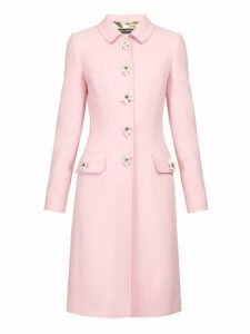 Dolce & Gabbana - Flower Embellished Single Breasted Wool Crepe Coat - Womens - Pink