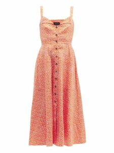 Saloni - Fara Printed Cotton Blend Dress - Womens - Orange Multi
