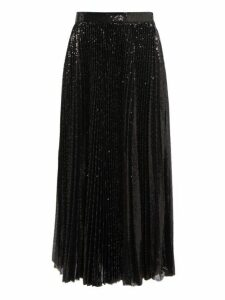 Msgm - Pleated Sequin Midi Skirt - Womens - Black