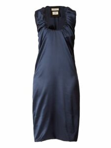 Bottega Veneta - Gathered Scoop Neck Satin Midi Dress - Womens - Dark Blue