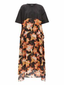 Raey - Lily Print Silk And Cotton T Shirt Dress - Womens - Red Print