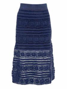 Staud - Marlin Cotton Crochet Midi Skirt - Womens - Navy