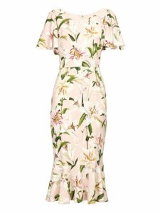 Dolce & Gabbana - Lily Print Fluted Cady Dress - Womens - Pink Multi