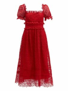 Self-portrait - Hibiscus Flower Guipure Lace Midi Dress - Womens - Red