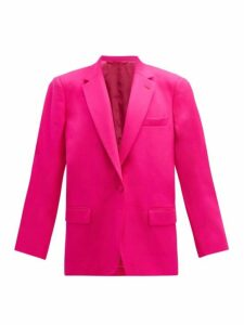 The Attico - Single Breasted Wool Blend Twill Blazer - Womens - Fuchsia