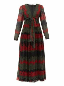 Redvalentino - Floral Print Chiffon Midi Dress - Womens - Black Multi