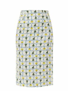 Staud - Cabana High Rise Vegetable Print Linen Skirt - Womens - Ivory Multi