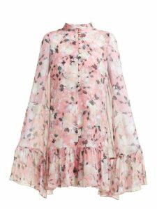 Erdem - Constantine Floral Print Silk Chiffon Cape Dress - Womens - Pink Print