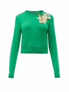 Dolce & Gabbana - Lily Appliqué Cropped Silk Sweater - Womens - Green