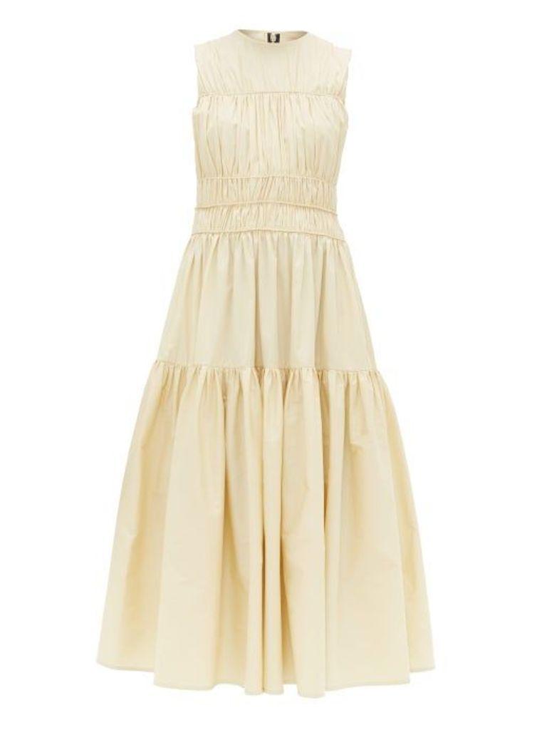 Roksanda - Isilda Ruched Cotton Poplin Midi Dress - Womens - Light Yellow