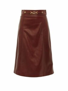Gucci - French Plongé Leather A Line Skirt - Womens - Burgundy