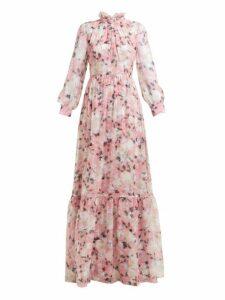 Erdem - Clementine Floral Print Silk Voile Gown - Womens - Pink Print
