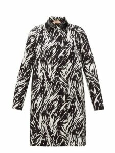 No. 21 - Zebra Print Double Breasted Cotton & Pvc Coat - Womens - Black White