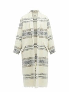 Isabel Marant Étoile - Faby Open Front Striped Wool Overcoat - Womens - Ivory