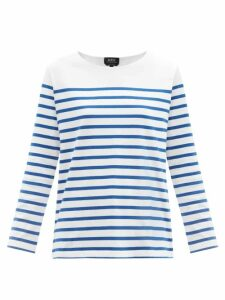 By Walid - Nil Multi Stripe Cotton Poplin Shirt - Womens - Blue Multi