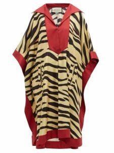 Gucci - Zebra Print Silk Kaftan Dress - Womens - Yellow Multi