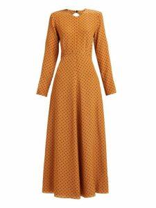 Raey - Tie Back Polka Dot Silk Dress - Womens - Tan Print