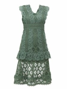 Sea - Laurel Ruffle Trimmed Crochet Midi Dress - Womens - Khaki
