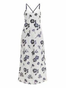 Self-portrait - Floral Sequinned Dress - Womens - Cream Navy