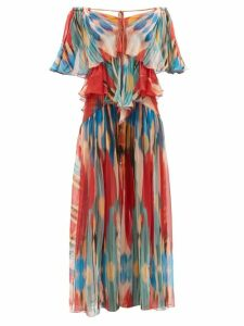 Self-portrait - Ruffled Floral Print Satin Top - Womens - Navy