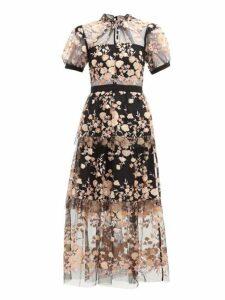Self-portrait - Floral Sequin Embellished Tulle Midi Dress - Womens - Black Multi
