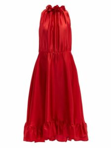 Msgm - Ruffle Trimmed Charmeuse Dress - Womens - Red