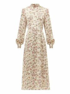 Goat - Goldfinch Camelia Print Crepe Midi Dress - Womens - White Multi