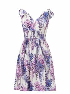 Erdem - Polina Apsley Print Off The Shoulder Cotton Dress - Womens - White Print