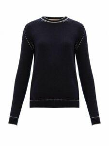 Marni - Contrast Stitch Cashmere Sweater - Womens - Blue White