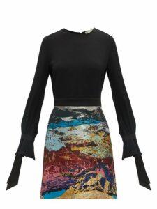 Mary Katrantzou - Ligretto Landscape Jacquard Dress - Womens - Blue Multi