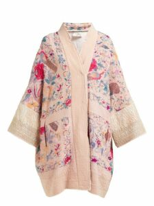 By Walid - Jasemine Floral Embroidered Antique Silk Coat - Womens - Pink Multi