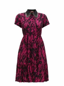 No. 21 - Embellished Collar Zebra Print Dress - Womens - Fuchsia